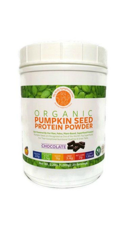 100% USDA Certified Organic Pumpkin Seed Protein Powder   Pure, Raw Superfood, Cold Pressed & Non-GMO   Vegan, Paleo and Keto Friendly - 2.20 lbs 20 Servings - MyBodySymphony.com (Chocolate)