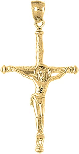 Silver Yellow Plated Crucifix Charm 55mm