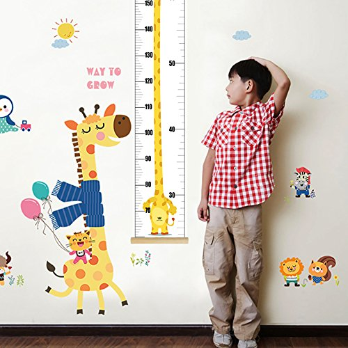 Giraffe Height Chart - Here&There Kids Growth Height Chart Canvas Hanging Ruler for Baby Room Wall Decor (Giraffe)