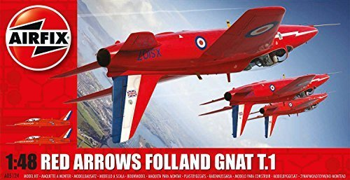 Airfix Red Arrows Gnat 1:48 Plastic Model Kit by -