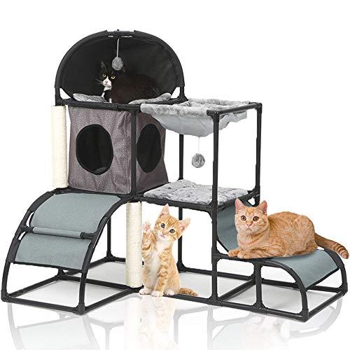 LBLA Kratzbaum Katze Kletterturm für Kätzchen mit Kratzbaum Katzenturm Aktivitätscenter mit Hängematte