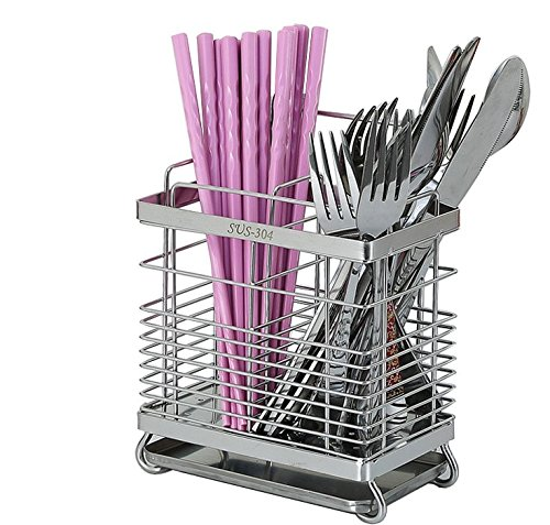 304 Stainless Steel Hanging 2 Compartments Mesh Utensil Drying Rack/ Chopsticks/Spoon/Fork/Knife Drainer Basket Flatware Storage Drainer (Square)