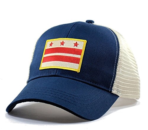 Homeland Tees Men's Washington DC Flag Patch Trucker Hat - Blue