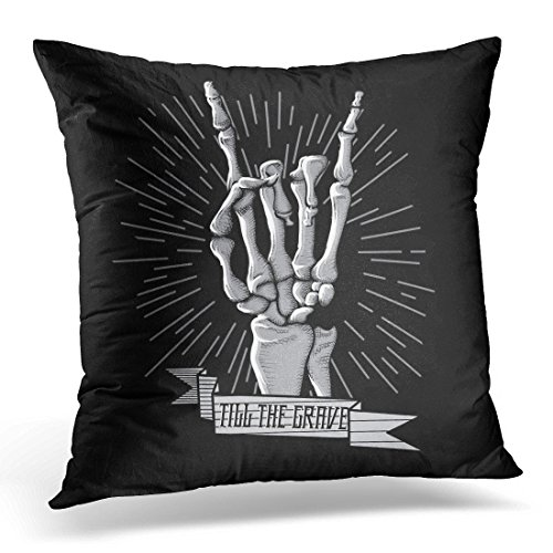 Band Pillow (LUOLNN Throw Pillow Cover Black Band Rock Roll Skeleton Hand Music Hard Grunge Hipster Symbol Retro Rocker Decorative Pillow Case Home Decor Square 16x16 Inches Pillowcase)