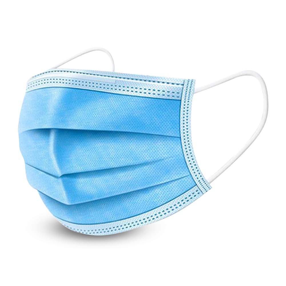 Dispositivo de protección desechable de 50 piezas, sistema de protección de 3 capas, con elástico desechable y filtro de polvo para evitar el polvo y la contaminación atmosférica, doméstico