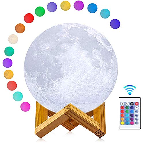 ABEICO 3D Moon Lamp LED Night Light with Stand & Cord-16 Colors, Dimmable, Rechargeable Moon Light Lamps(Large,5.9in) Remote & Touch Control, Nursery Decor for Your Baby, Secret Santa Gifts for -