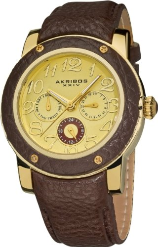 Akribos XXIV Women's AK560BR Quartz Multi-Function Genuine Leather Watch