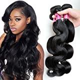 XiaoYuan Brazilian Virgin Hair Body Wave 3 Bundles 100% Unprocessed Virgin Human Hair Extensions Grade 8a Natural Black Color (12 14 16inch) For Sale