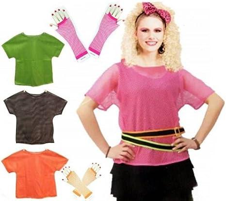 Neon mesh top Ladies Fancy Dress 80s neon Mesh Top