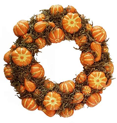 Homester Fall Halloween Thanksgiving Artificial Pumpkin Wreath Candle Ring (12
