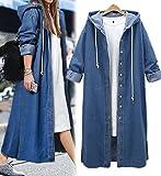 Innifer Women's Long Sleeve Plus Size Long Jean Jacket Denim Windbreaker Outwear Coat with Hood