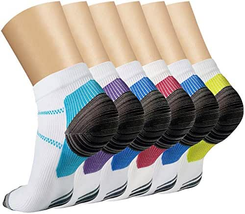 6 Pairs Compression Socks for Women and Men Sport Plantar Fasciitis Arch Support Low Cut Running Gym Compression Foot Socks/Foot Sleeves Best for Sports