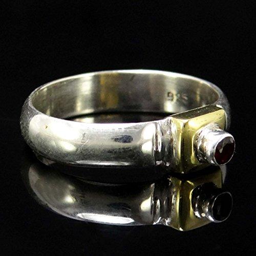 Banithani belle pierre grenat 925 argent massif bijoux fantaisie bague artisanale