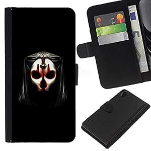 Sony Xperia Z2 D6502 D6503 D6543 L50t L50u , la tarjeta de Crédito Slots PU Funda de cuero Monedero caso cubierta de piel ( Skull Mask Face Anonymous Art Alien Human)