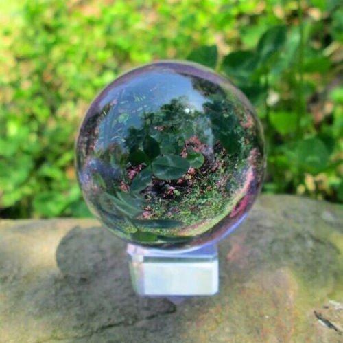 cui gai gu Asian Rare Natural Quartz Purple Magic Crystal Healing Ball Sphere 40mm + Stand