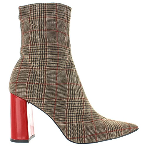 Jeffrey Campbell Women's Siren Block Heel Ankle Booties, Brown Plaid Red, 8.5 B(M) (Plaid Womens Boots)