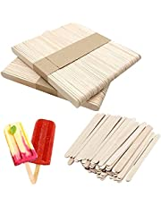 100 PCS Natural Wooden Popsicle Sticks, Food Grade Smooth Wooden Sticks, Ice Cream Candy Making, 4.5 inch Wood Craft Popsicle Sticks for Craft