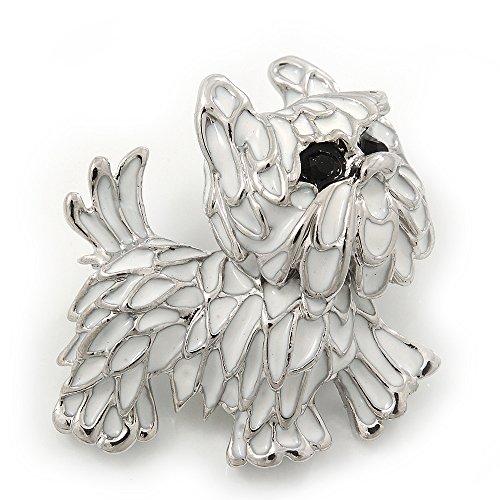 White Enamel Yorkie Puppy Dog Brooch In Rhodium Plating - 4cm - Jewelry Yorkie