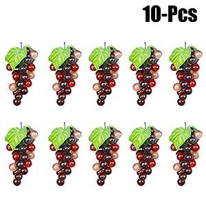 Outgeek Artificial Grapes, 10 Pack Artificial Grapes Mini Grape Clusters Rubber Fake Grape Bundles Decorative Grapes Hanging Ornaments for Vintage Wedding Favor Fruit Wine Decor Faux Fruit Props