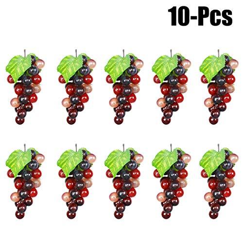 - Outgeek Artificial Grapes, 10 Pack Artificial Grapes Mini Grape Clusters Rubber Fake Grape Bundles Decorative Grapes Hanging Ornaments for Vintage Wedding Favor Fruit Wine Decor Faux Fruit Props