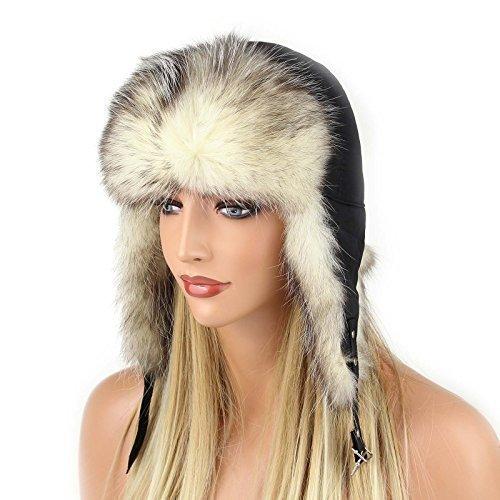 Damen Coyote Mütze Pelzmütze Fellmütze Fliegermütze Wintermütze Skimütze Uschanka Polarmütze Aviator Russische Mütze Echt Fell