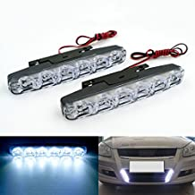 Rayhoo 2 pcs Set Waterproof High Power 6W 12V 6000K Xenon Slim COB LED DRL Daylight Driving Daytime Running Light Lamp For Car SUV Sedan Coupe Vehicle Universal (Xenon White)
