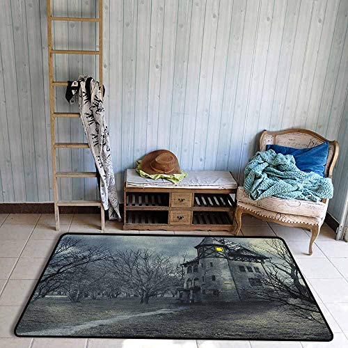 Indoor/Outdoor Rug,Halloween Halloween Design with Gothic Haunted House Dark Sky and Leafless Trees Spooky Theme,Anti-Slip Doormat Footpad Machine Washable,4'11