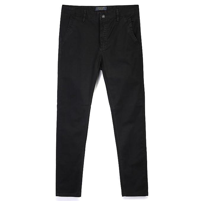 Mens Slim Tapered Flat Front Casual Pants Black Tag 29-US 28