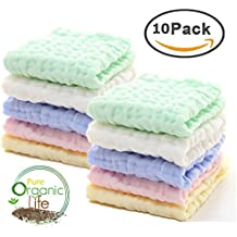 Baby Muslin Washcloths - Natural Muslin Cotton Baby Wipes - Soft Newborn Baby Face Towel for Sensitive Skin- Baby Registry as Shower Gift, 10 Pack 10x10 inches By MUKIN (Multicolored)