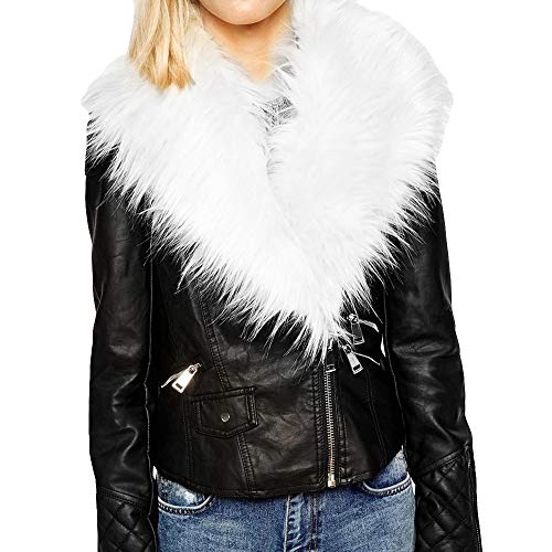Orangeskycn Womens Faux Fur Collar Leather Short Jacket for Party Club Cocktail White (Black Leather Jacket With White Fur Collar)