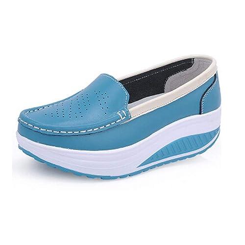 Muelle de Cuero Madre Casual Mujer Mocasines Columpio Zapatos de cuña Zapatos Blancos de Enfermera Zapatos