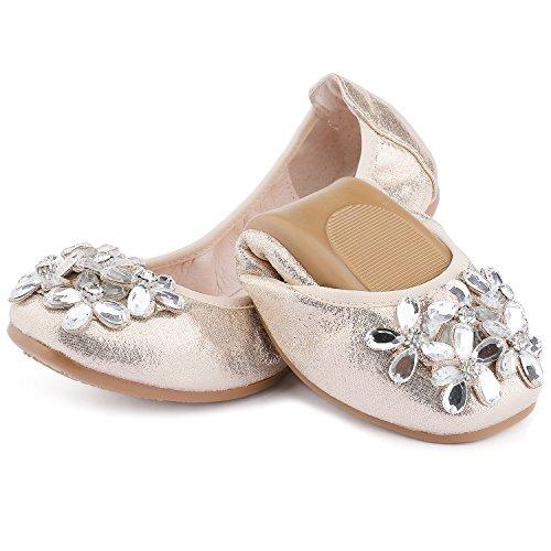 UBELLA Girl's Foldable Ballet Flats Rhinestone Slip-On Loafer Wedding Bridal Ballerina Shoes by UBELLA