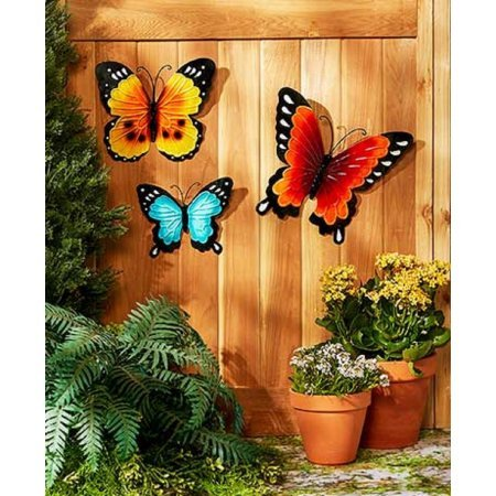 Amazon.com : Wall Art Indoor / Outdoor Metal Wall Decor Butterfly Set Of 3  : Garden U0026 Outdoor