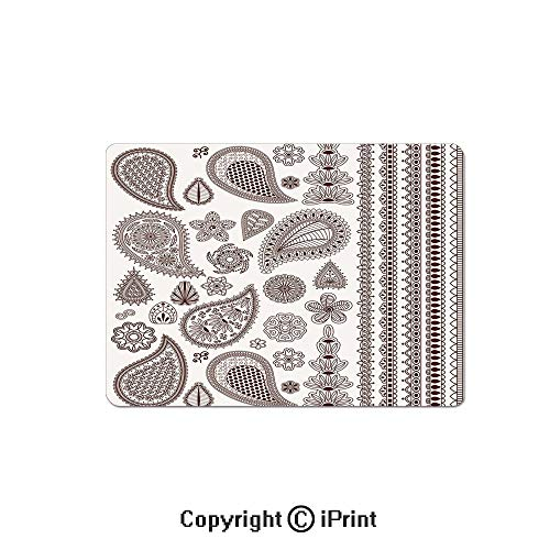 Oversized Mouse Pad,Collection of Oriental Ornaments with Arabesque Art Paisley Elements Graphic Decorative Gaming Keyboard Pad,9.8x11.8 inch Non-Slip Office Computer Desk Mat,Dark Brown White