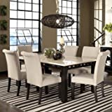 Cheap Standard Furniture Gateway White 7 Piece Dining Room Set w/ Parsons Chairs in Dark Chicory Brown