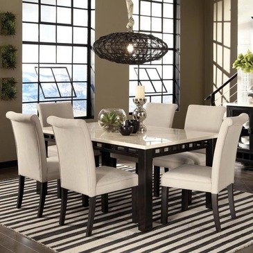 Cam White Marble Dining Room Set with 6 Blue Chairs   Nader\'s Furniture