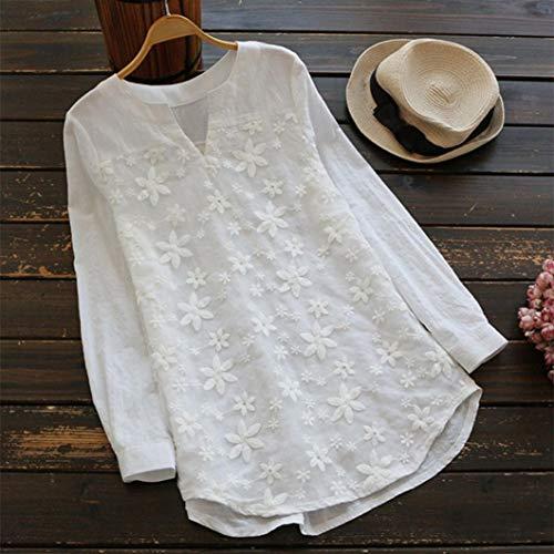 Blanc Longues Coton Mode DTendue Chemise Chanvre Confort Femme Manches LULIKA Casual V Dentelle Col wOqFxA