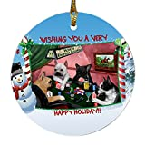 Home of French Bulldog 4 Dogs Playing Poker Photo Round Christmas Ornament