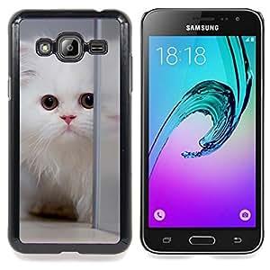 Stuss Case / Funda Carcasa protectora - Persa blanco Gato de pelo largo gatito mullido - Samsung Galaxy J3 GSM-J300