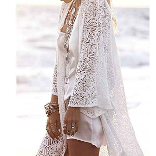 Up Femmes Bikini manches Gland 3 4 Cardigan Yalatan Long Cover Floral Beachwear Tops Blouse Dentelle wqFUntHd