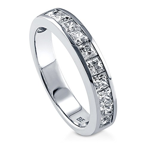 BERRICLE Rhodium Plated Sterling Silver Channel Set Princess Cut Cubic Zirconia CZ Anniversary Wedding Half Eternity Band Ring Size - 3.5 Mm Channel Set