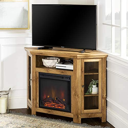 Walker Edison Furniture Company Tall Wood Corner Fireplace Stand 52 Storage Cabinets Flat Screen Universal TV Console Living Room Shelves Entertainment Center, 48 Inch, Brown