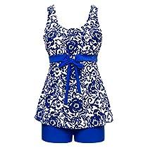 Wantdo Womens Tankini Oriental Porcelain Swimsuit Slimming Swimwear