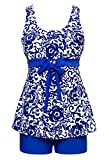 Wantdo Women's Tankini Swimming Wear Two Piece Swimsuit Brilliant Blue US 8-10