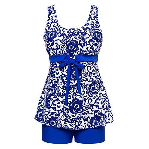7d7617d63fd5 Wantdo Women's Oriental Porcelain Swimsuit Slimming Tankini Swimwear 70%OFF