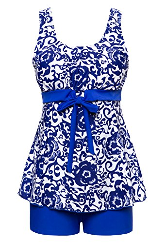 Wantdo Women's Flattering Swimwear Two-Piece Tankini Swimsuit Fashion Swim Dress
