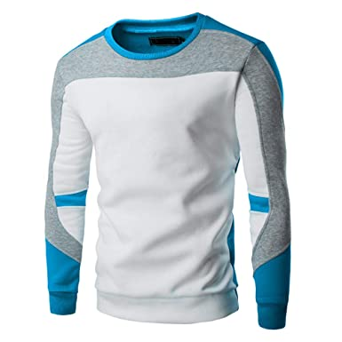 Yanhoo Hombres Primavera Otoño Invierno Casual Patchwork Top Jersey Swearshirt Outwear Sudadera Hombres suéter Hombre Storm Jersey de Cuello Alto para ...