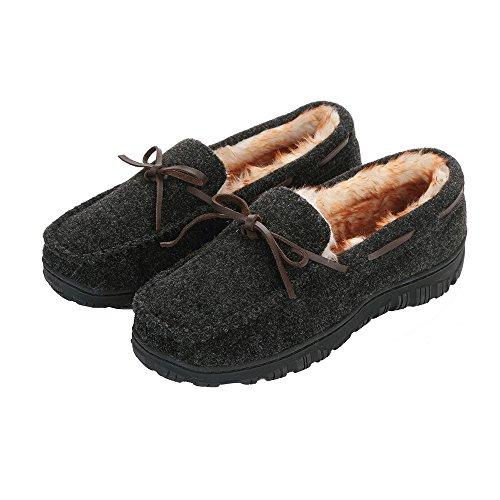 Men's Wool Felt Luxury Plush Pile Lined Microsuede Indoor Outdoor Slip On Moccasin Slippers US 8 Gray ()