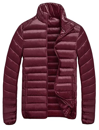 Packable Zip US Coat Men's Wine EKU L Custom Puffer Down Jacket Fit Red Front XnCqqRwvp