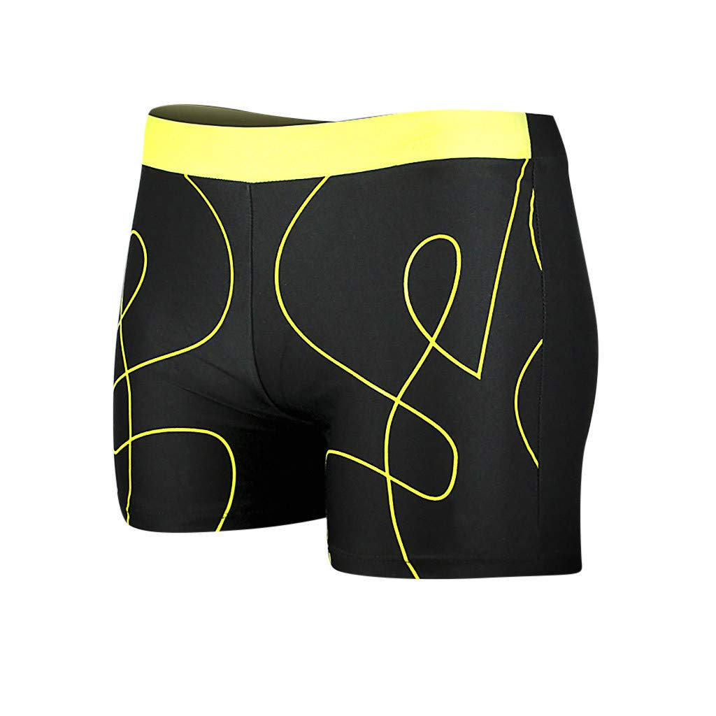 BOOMJIU Men's Sexy Swimwear Shorts Surf Swimsuit Swim Trunks with Beach Surfing Print Watershort Yellow